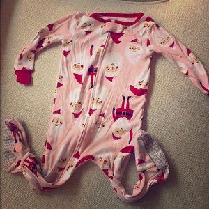 12 month pink Santa onesie